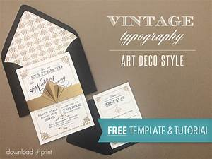 free template vintage wedding invitation with art deco band With diy wedding invitations templates free download