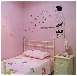 kids baby girl blow dandelion fly free quote home decal With nice removable wall decals for girls rooms
