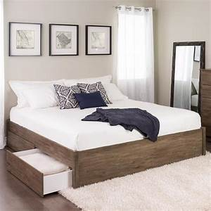 Prepac, Select, Drifted, Gray, King, 4-post, Platform, Bed, With, 4-drawers-dbsk-1302-4k