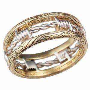 Yellow Gold Barbed Wire Wedding Band