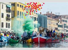 This year's Venice Carnival launches with colourful water