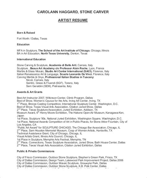 Artist Resume Templates by Sle Artist Resume 8 Exles In Word Pdf