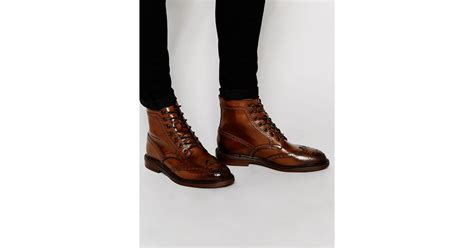 Asos Boots : Asos Brogue Boots In Brown Leather With Chunky Sole In