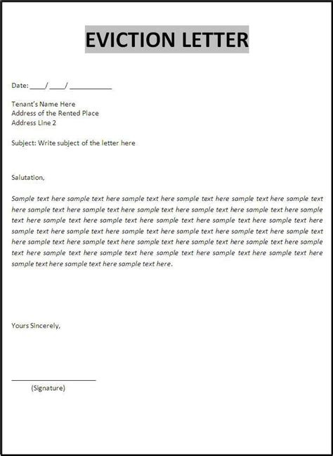 eviction letter template eviction notice letter