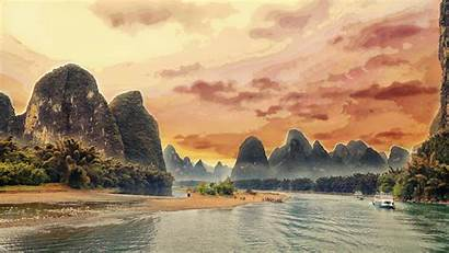Landscape China Yangshuo Guilin River Li Asia