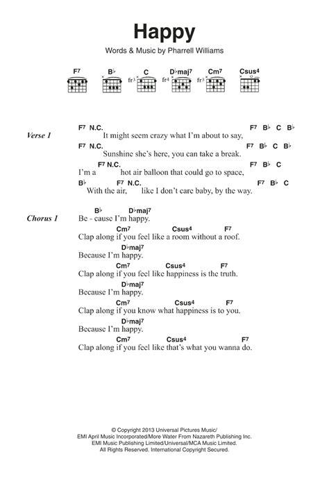 happy sheet  pharrell williams guitar chordslyrics