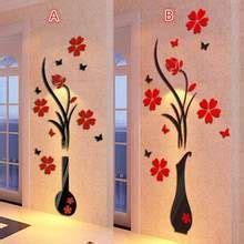 2018 DIY florero flor árbol de cristal acrílico 3D pared