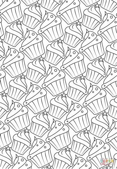 Coloring Pattern Pages Cupcakes Printable Cake Cup