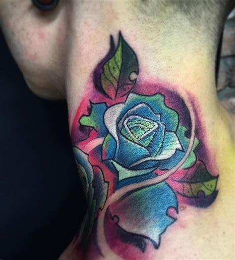 New School Rose Tattoo On The Left Side Of The Neck