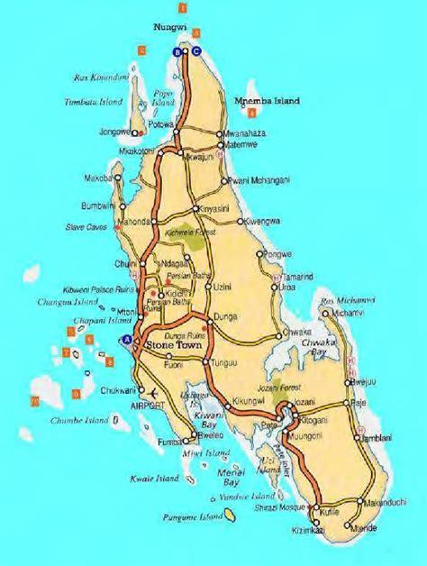 map  unguja island bweleo  located southeast