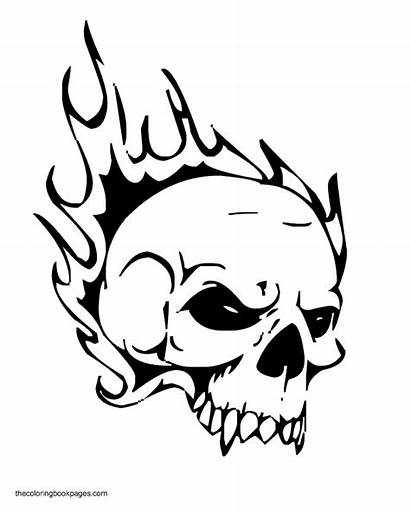 Skull Skulls Coloring Pages Fire Flame Flames