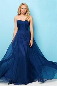 Simple A Line Strapless Long Navy Blue Chiffon Flowing ...