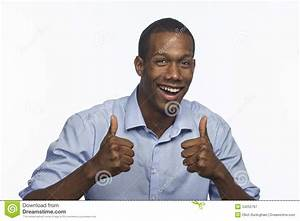 Young African American Man Giving Thumbs Up, Horizontal ...