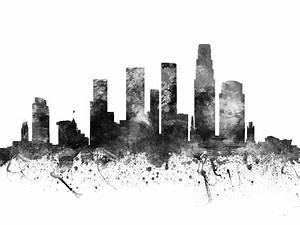 Los Angeles California Cityscape 02bw Digital Art by Aged