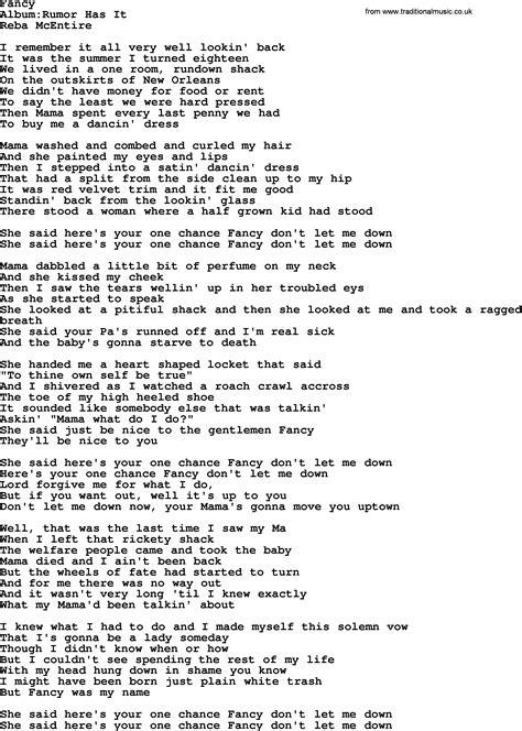 reba mcentire lyrics fancy fancy by reba mcentire lyrics