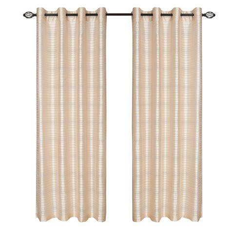 lavish home beige maggie grommet curtain panel 84 in
