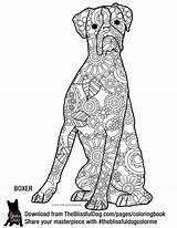 Coloring Dog Boxer Adult Boxers Goldendoodle Zentangle Theblissfuldog Dogs Mandala Template sketch template