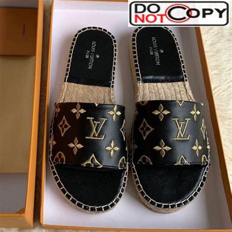 louis vuitton monogram embroidered flat espadrilles  sandals blackgold  women  men