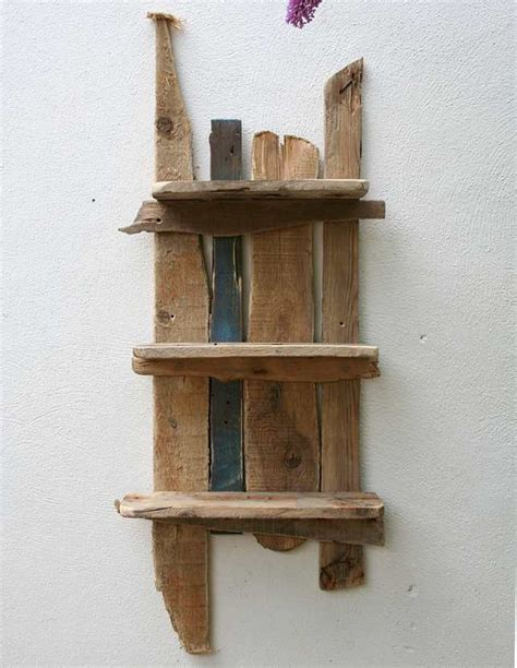 driftwood  reclaimed wood shelves bathroom folksy