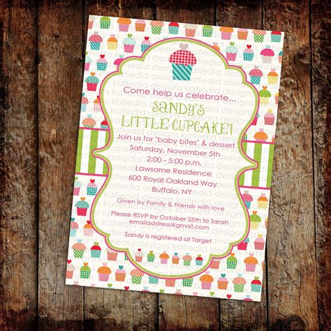 cupcake couples baby shower invitation sprinkle sip see wipes brunch birthday