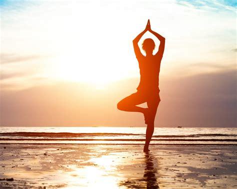 wallpaper yoga sunrise morning beach  lifestyle
