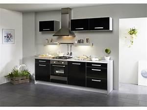 Meuble Cuisine Noir : pack cuisine 7 meubles clarisse noir brillant ~ Teatrodelosmanantiales.com Idées de Décoration
