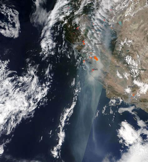 California's historic wildfires have served up astonishing scenes of destruction that have claimed several dozen lives, incinerated huge tracts of land and caused dystopian orange skies to loom over a. NASA's Terra Satellite Captures the Scene of Intense ...