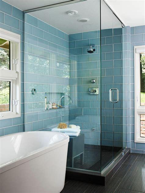 blue bathroom tile ideas turquoise blue glass shower tiles design decor photos