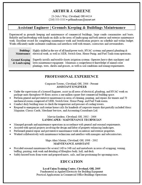 Groundskeeper Resume Exles by Resume Sle For Facilities And Building Maintenance