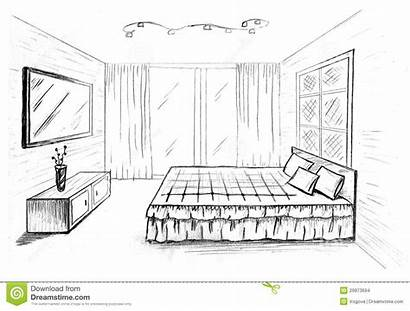 Sketch Bedroom Drawing Bed Interior Graphical Simple