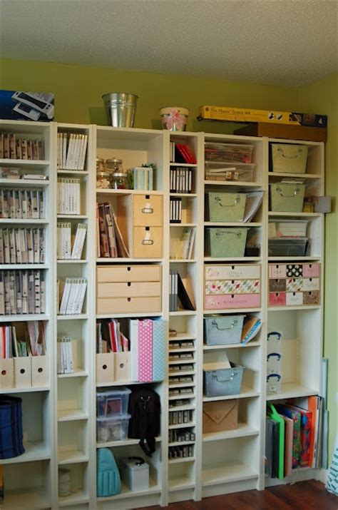 Bookcase Storage Ideas by Ikea Billy Bookcases For Crafting Supplies And Tools
