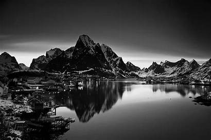 Mountain Landscape Monochrome Norway Nature Dark Wall