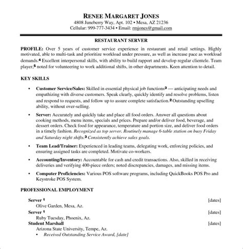 sle food service resume 6 documents in pdf word