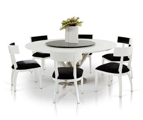 ax spiral modern  white dining table  lazy susan
