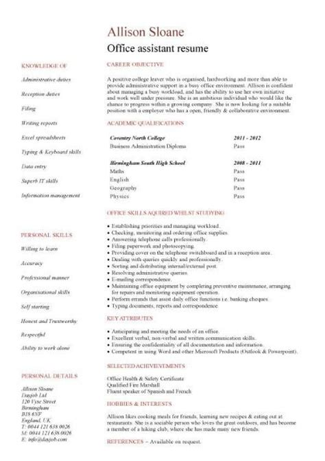 work experience office assistant resume job resume