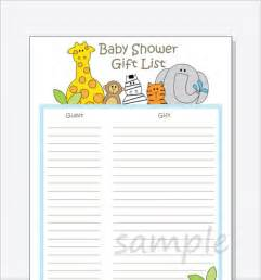 Free Baby Shower Gift List Template