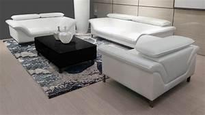 Salon Cuir Blanc : salon tanaro canap 3 places 2 places fauteuil mobilier moss ~ Teatrodelosmanantiales.com Idées de Décoration