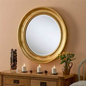 Round, Gold, Contemporary, Wall, Mirror