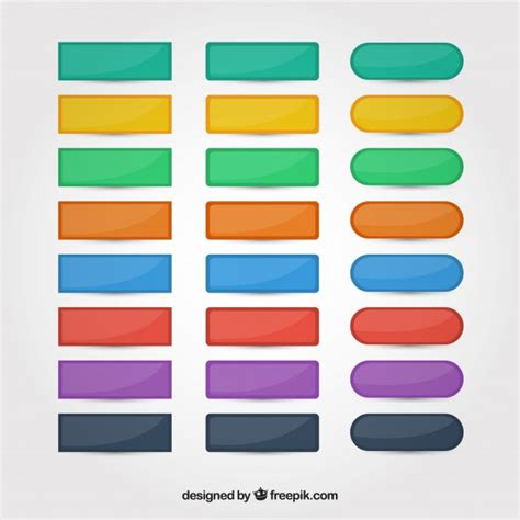 button color html colors web buttons set vector free