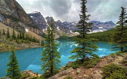 Canada Desktop Alberta Lake Moraine Nature Wallpapers