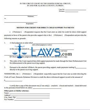 motion  credit  direct child support payments