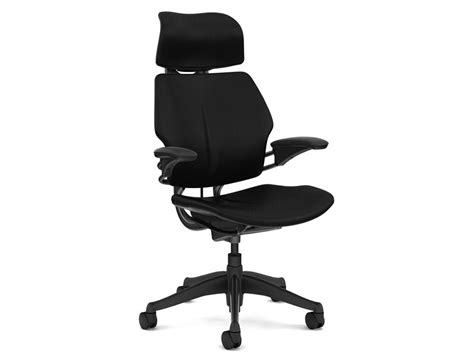 used humanscale freedom ergonomic chair with headrest in black