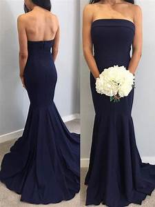 Strapless Mermaid Navy Blue Long Bridesmaid Dress