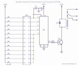 Electronic Combination Lock Circuit Using Ic Ls 7220