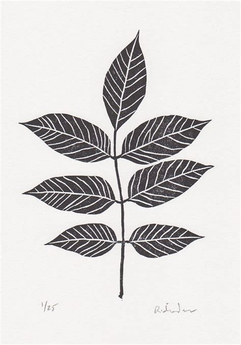 block print ash tree leaf limited edition hand pulled