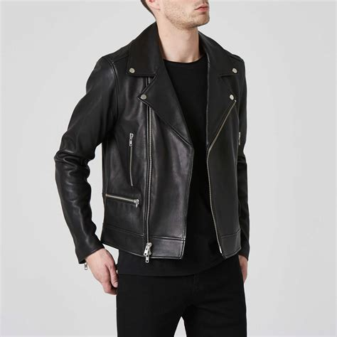 mens leather moto jacket in black 400 dstld