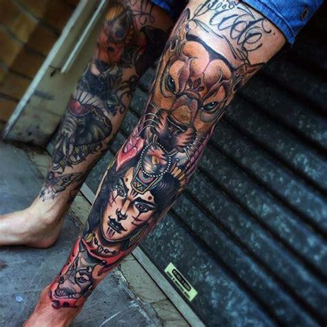 shin tattoos  men masculine  leg design ideas