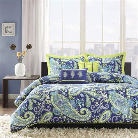 full queen size 5 piece paisley comforter set in blue