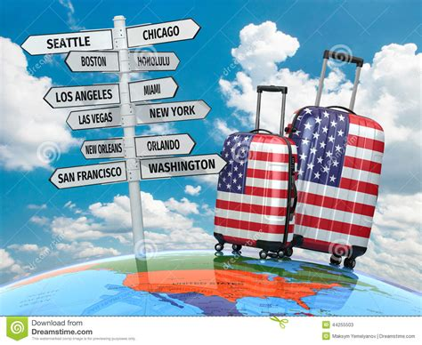 travel usa travel concept suitcases and signpost what to visit in usa stock illustration illustration