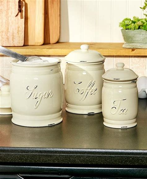 Canisters For Kitchen Counter by Set Of 3 Embossed Classic Ceramic Kitchen Countertop